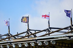 A general view of the Flags above the main stand at Sandy Park as the wind blows - Mandatory by-line: Ryan Hiscott/JMP - 27/04/2019 - RUGBY - Sandy Park - Exeter, England - Exeter Chiefs v Harlequins - Gallagher Premiership Rugby