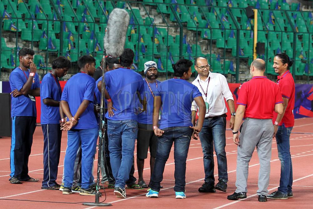 ISL official before match 30 of the Indian Super League (ISL) season 2  between Chennaiyin FC and FC Goa held at the Jawaharlal Nehru Stadium, Chennai, Tamil Nadu, India on the 5th November 2015.<br /> <br /> Photo by Deepak Malik / ISL/ SPORTZPICS