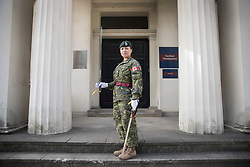 © Licensed to London News Pictures. 26/06/2017. London, UK. Captain Megan Couto of the 2nd Battalion, Princess Patricia's Canadian Light Infantry poses for photographs at Wellington Barracks as she prepares to become the first woman to command the Queen's Guard at Buckingham Palace. The Canadian Light Infantry are taking part in the Changing of the Guard Ceremony as part of the 150th anniversary of the founding of the nation of Canada. Photo credit: Peter Macdiarmid/LNP