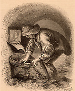 The Sewer Hunter. This man eked out a living by hunting in the sewers for anything he could sell, such as a lost ring. To give him light to do his work he is using a candle with a simple wind shield.  Engraving from 'London Labour and the London Poor' by Henry Mayhew (London, 1861).