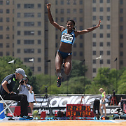 Yosiris  Urrutia, Colombia, in action during the Women's Triple Jump competition during the Diamond League Adidas Grand Prix at Icahn Stadium, Randall's Island, Manhattan, New York, USA. 14th June 2014. Photo Tim Clayton