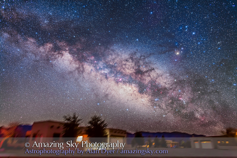 The summer Milky Way and centre of the Galaxy area in Scorpius and Sagittarius rising above the adobe lodges at the Painted Pony Resort in southwest New Mexico, March 14, 2013. This is a stack of 5 x 3.5 minute exposures at f/2.8 with the 24mm lens and Canon 5D MkII at ISO 1600, plus a layer of two exposures taken through the Softon filter for the star glows.