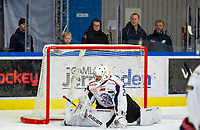 2020-01-22 | Kallinge, Sweden: Halmstad Hammers (29) Anton Malmborg block the puck during the game between Krif hockey and Halmstad Hammers at Soft Center Arena (Photo by: Jonathan Persson | Swe Press Photo)<br /> <br /> Keywords: kallinge, Ishockey, Icehockey, hockeyettan, allettan södra, soft center arena, krif hockey, halmstad hammers (Match code: krhh200122)