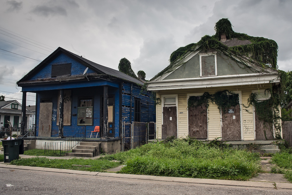 June 13, 2015, New Orleans, LA, Blighted homes in mid-city.<br /> Properties destroyed by Hurricane Katrina, remain scattered around New Orleans nearly ten years after the storm.
