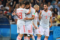 Torjubel Diego COSTA (2.v.li,ESP) mit Jordi ALBA (ESP) Tor zum 1-1, Aktion,Jubel,Freude,Begeisterung, Portugal (POR)-Spanien (ESP), Vorrunde, Gruppe B, Spiel 1, am 15.06.2018 in SOTSCHI,Fisht Olymipic Stadium. Fussball Weltmeisterschaft 2018 in Russland vom 14.06. - 15.07.2018. *** Goalkeeper Diego COSTA 2 v left ESP with Jordi ALBA ESP Goal of the 1 1 action Cheering Joy Enthusiasm Portugal POR Spain ESP Preliminary Round Group B Match 1 on 15 06 2018 in SOCHI Fisht Olymipic Stadium Football World Cup 2018 in Russia on 14 06 15 07 2018