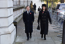 © Licensed to London News Pictures. 13/11/2016. LONDON, UK.  Welsh Secretary, ALUN CAIRNS walking through Downing Street to the annual Remembrance Sunday service at the Cenotaph memorial in Whitehall, which is held in tribute for members of the armed forces who have died in major wars and conflicts. Photo credit: Vickie Flores/LNP