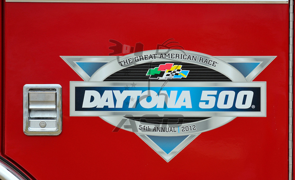Daytona Beach, FL - FEB 17, 2012: A fire truck waits during practice for the Budweiser Shootout race at the Daytona International Speedway in Daytona Beach, FL.