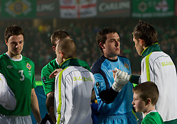 Lee Camp of Northern Ireland and Josip Ilicic of Slovenia during EURO 2012 Qualifications game between National teams of Slovenia and Northern Ireland, on March 29, 2011, in Windsor Park Stadium, Belfast, Northern Ireland, United Kingdom. (Photo by Vid Ponikvar / Sportida)