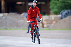 ROTTACH-EGERN, GERMANY - Friday, July 28, 2017: Liverpool's captain Jordan Henderson cycles to a training session at FC Rottach-Egern on day three of the preseason training camp in Germany. (Pic by David Rawcliffe/Propaganda)