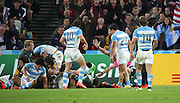 Argentina scoring a last minute try to take the score 24 13 during the Rugby World Cup Bronze Final match between South Africa and Argentina at the Queen Elizabeth II Olympic Park, London, United Kingdom on 30 October 2015. Photo by Matthew Redman.