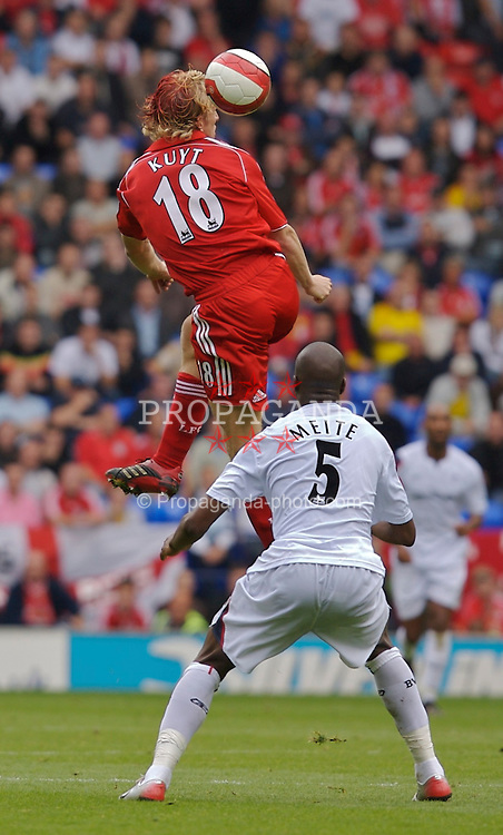 BOLTON, ENGLAND - SATURDAY, SEPTEMBER 30th , 2006: Liverpool's Dirk Kuyt wins a header against Bolton Wanderers during the Premiership match at the Reebok Stadium. (Pic by David Rawcliffe/Propaganda)