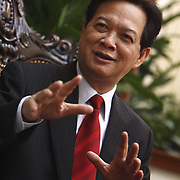 Vietnamese Prime Minister Nguyen Tan Dung speaks during an interview at his office in Hanoi, Vietnam, 27 February, 2008.