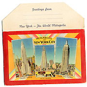 The Empire State, Chrysler and RCA (now GE) buildings depicted on the back cover of a Deco-era packet containing 16 postcard views of 1930s New York. This is from my personal collection of vintage postcards of New York, Florida, and Cuba