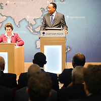 HE Mahamadou Issoufou, President of the Republic of Niger, addresses the audience from the podium during the ?Niger?s Growing Regional and International Importance? conference at Chatham House.