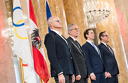 24.01.2018, Hofburg, Wien, Pyeongchang 2018, Vereidigung der Olympia-Mannschaft durch den Bundespräsidenten, im Bild ÖOC-Präsident Karl Stoss, Bundespräsident Alexander Van der Bellen, Bundeskanzler Sebastian Kurz (ÖVP) und Vizekanzler Heinz-Christian Strache (FPÖ) // President of the Austrian Austrian Olympic Committee Karl Stoss, federal president of Austria Alexander Van der Bellen, Austrian Federal Chancellor Sebastian Kurz and Austrian Vice Chancellor Heinz-Christian Strache during the swearing-in of the Austrian National Olympic Committee for Pyeongchang 2018 at Hofburg in Vienna, Austria on 2018/01/24, EXPA Pictures © 2018 PhotoCredit: EXPA/ Michael Gruber