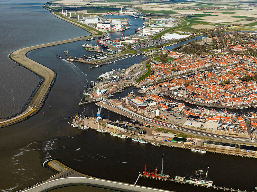 Nederland, Friesland, Harlingen, 16-04-2012; haven en centrum van de stad. .Port and city of Harlingen on the coast of the Waddensea..luchtfoto (toeslag), aerial photo (additional fee required);.copyright foto/photo Siebe Swart