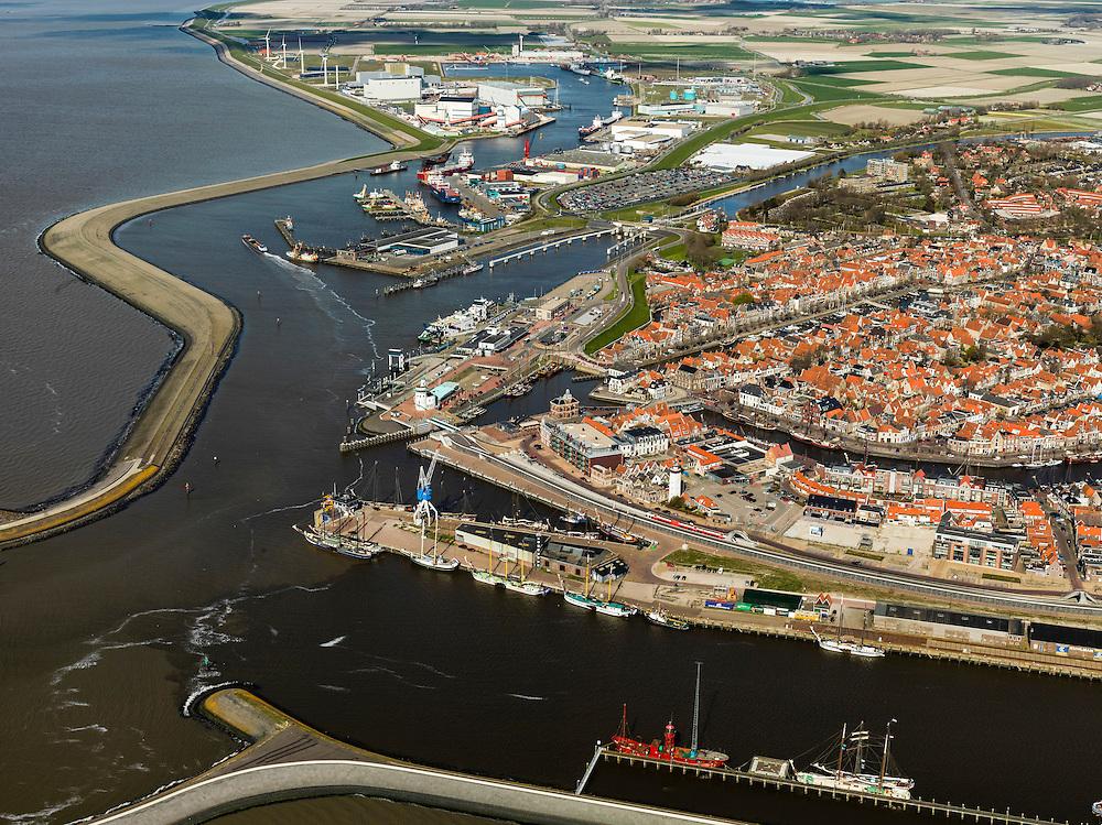 Nederland, Friesland, Harlingen, 16-04-2012; haven en centrum van de stad. .Port and city of Harlingen on the coast of the Waddensea..luchtfoto (toeslag), aerial photo (additional fee required);.copyright foto/photo Siebe Swart