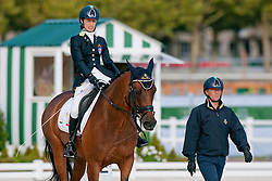 Sara Morganti riding Royal Delight in the Grade 1a Para-Dressage at the 2014 World Equestrian Games, Caen, Normandy, France..