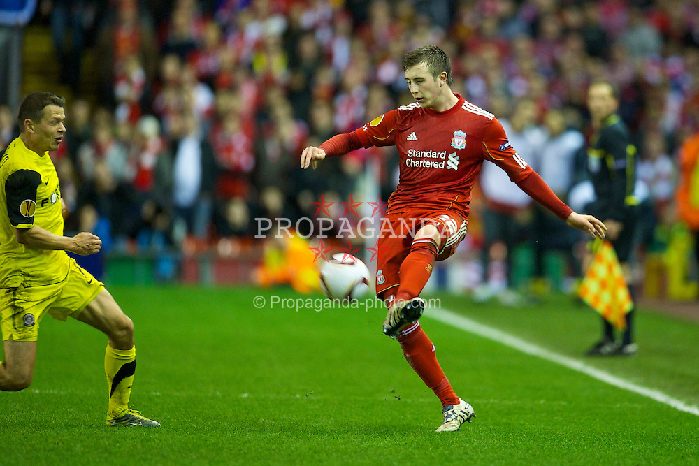 LIVERPOOL, ENGLAND, Thursday, February 24, 2011: Liverpool's Danny Wilson in action against AC Sparta Praha during the UEFA Europa League Round of 32 2nd leg match at Anfield. (Photo by David Rawcliffe/Propaganda)