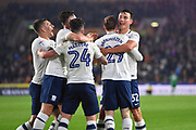 Preston North End celebrate goal scored by Preston North End forward Tom Barkhuizen (29) to go 0-1  during the EFL Sky Bet Championship match between Hull City and Preston North End at the KCOM Stadium, Kingston upon Hull, England on 26 September 2017. Photo by Ian Lyall.