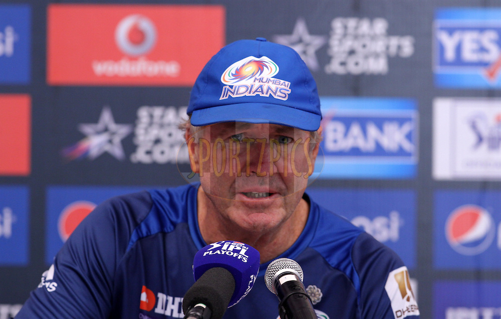 Mumbai Indians coach John Wright speaks during the press conference of eliminator match of the Pepsi Indian Premier League Season 2014 between the Chennai Superkings and the Mumbai Indians held at the Brabourne Stadium, Mumbai, India on the 28th May  2014<br /> <br /> Photo by Vipin Pawar / IPL / SPORTZPICS<br /> <br /> <br /> <br /> Image use subject to terms and conditions which can be found here:  http://sportzpics.photoshelter.com/gallery/Pepsi-IPL-Image-terms-and-conditions/G00004VW1IVJ.gB0/C0000TScjhBM6ikg