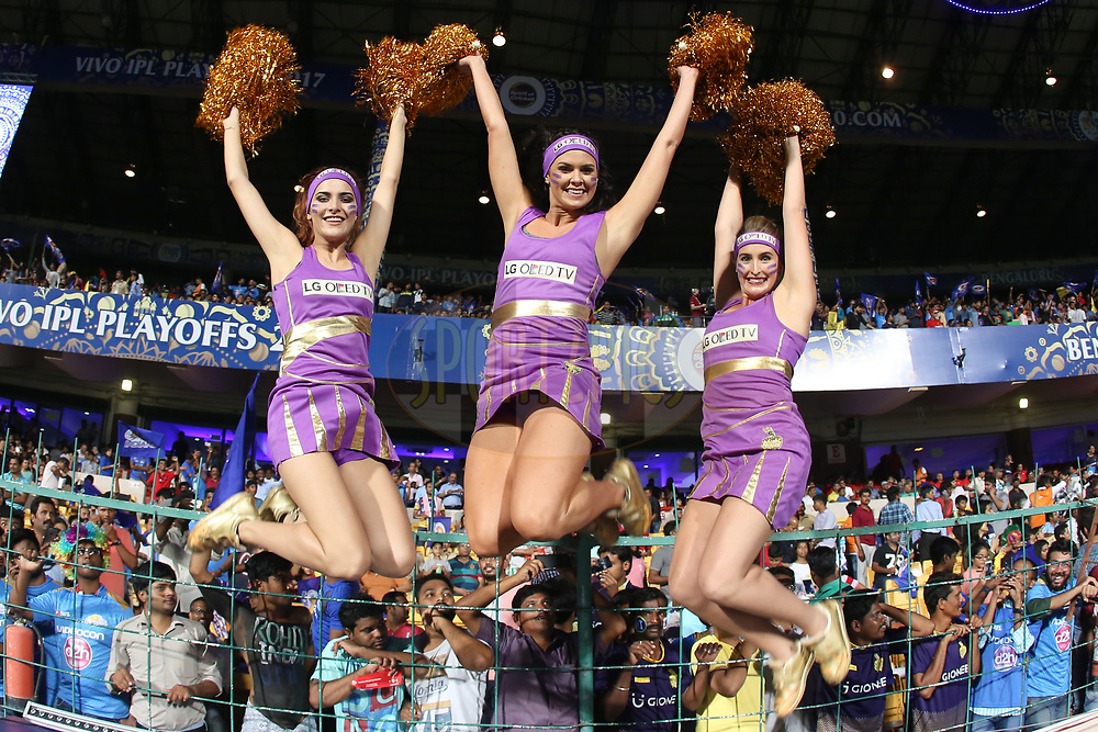 Kolkata Knight Riders cheerleaders during the 2nd qualifier match of the Vivo 2017 Indian Premier League between the Mumbai Indians and the Kolkata Knight Riders held at the M.Chinnaswamy Stadium in Bangalore, India on the 19th May 2017<br /> <br /> Photo by Faheem Hussain - Sportzpics - IPL