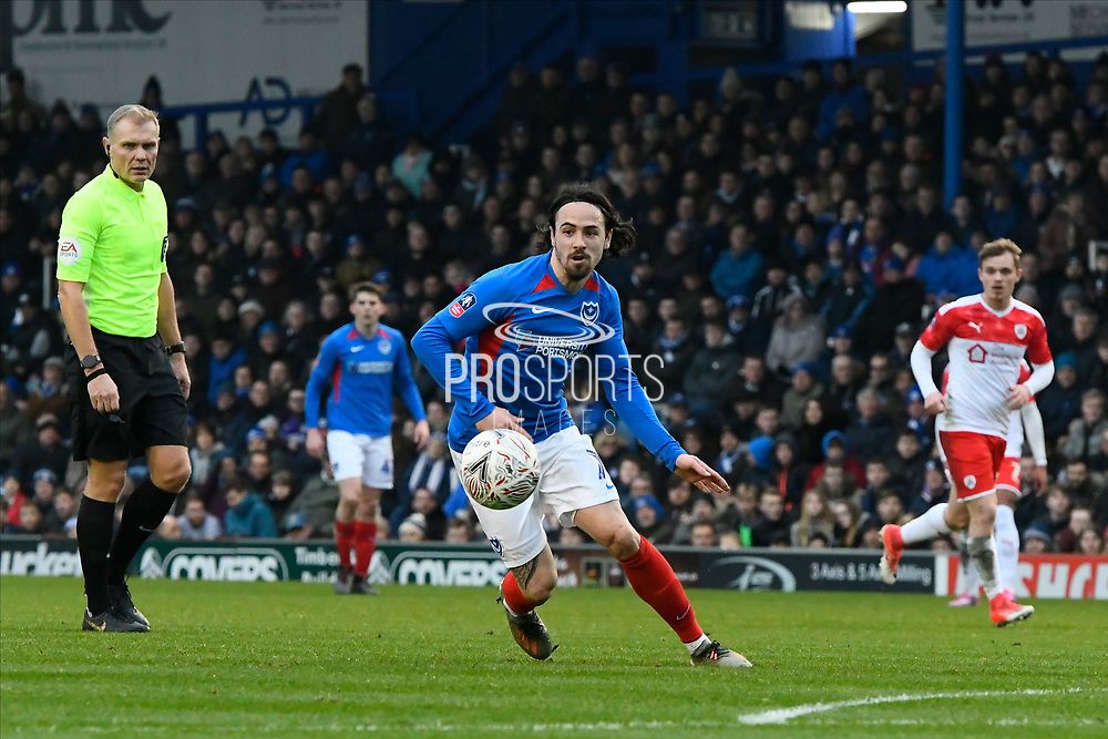 Ryan Williams (7) of Portsmouth on the attack during the The FA Cup match between Portsmouth and Barnsley at Fratton Park, Portsmouth, England on 25 January 2020.