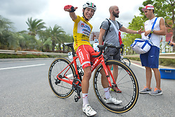September 24, 2017 - Zhuhai, Guangdong, China - Very happy Kevin Rivera Serran from Androni Sidermec Bottecchia team at the end of the fifth and final stage after he wins the General Classement of the 2017 Tour of China 2. .On Sunday, 24 September 2017, in Hengqin district, Zhuhai City, Guangdong Province, China. (Credit Image: © Artur Widak/NurPhoto via ZUMA Press)