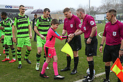 Respect handshake during the EFL Sky Bet League 2 match between Forest Green Rovers and Notts County at the New Lawn, Forest Green, United Kingdom on 10 March 2018. Picture by Shane Healey.