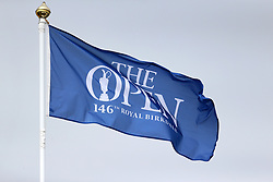 A flag with The Open branding flies in the breeze during day three of The Open Championship 2017 at Royal Birkdale Golf Club, Southport. PRESS ASSOCIATION Photo. Picture date: Saturday July 22, 2017. See PA story GOLF Open. Photo credit should read: Richard Sellers/PA Wire. RESTRICTIONS: Editorial use only. No commercial use. Still image use only. The Open Championship logo and clear link to The Open website (TheOpen.com) to be included on website publishing. Call +44 (0)1158 447447 for further information.