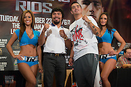 New York, NY, Manny Pacquiao(left) and Brandon Rios(right) attend a press conference at Jing fong restaurant in New York on August 6, 2013 as they prepare for their fight in Macao China on November 24, 2013.