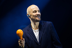 """© Licensed to London News Pictures . 07/07/2017 . Manchester , UK . Lead singer TIM BOOTH . """" James """" perform live at the Castlefield Bowl as part of Sounds of the City , during the Manchester International Festival . Photo credit : Joel Goodman/LNP"""