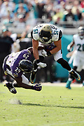 Jacksonville Jaguars middle linebacker Paul Posluszny (51) leaps and intercepts a fourth quarter pass intended for Baltimore Ravens running back Justin Forsett (29) giving the Jaguars the ball at the Ravens 33 yard line during the 2016 NFL week 3 regular season football game against the Baltimore Ravens on Sunday, Sept. 25, 2016 in Jacksonville, Fla. The Ravens won the game 19-17. (©Paul Anthony Spinelli)