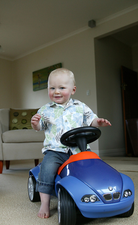 William Hodge with his BMW pedal car at his birthday party in New Plymouth, New Zealand, August 24, 2005. Credit:SNPA / Rob Tucker
