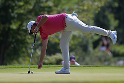September 2, 2018 - Norton, Massachusetts, United States - Brooks Koepka lines up a putt on the 8th green during the third round of the Dell Technologies Championship. (Credit Image: © Debby Wong/ZUMA Wire)