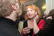 SEBASTIAN PELLY; KATIE GRAHAM, The Love-charm of Bombs. Restless Lives in the Second World War. By Lara Feigel - book launch party. Bloomsbury Publishing, 50 Bedford Square, London, WC1, 17 JANUARY 2012.