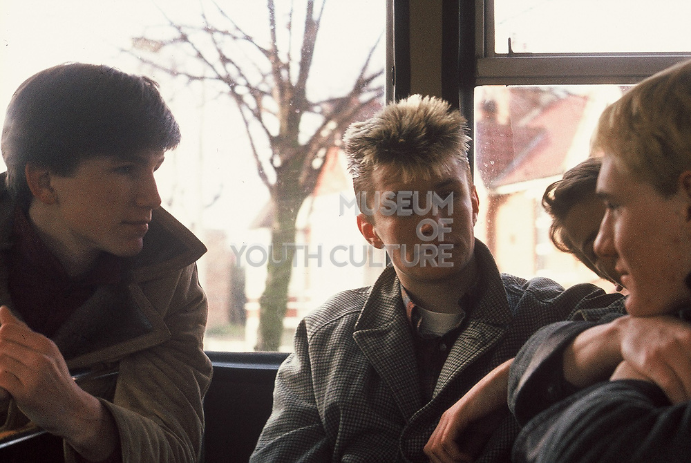 Teenagers on the bus, London, UK, 1983