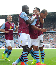 Aston Villa's Gabriel Agbonlahor celebrates his goal with Aston Villa's Kieran Richardson and Aston Villa's Aly Cissokho - Photo mandatory by-line: Joe Meredith/JMP - Mobile: 07966 386802 31/08/2014 - SPORT - FOOTBALL - Birmingham - Villa Park - Aston Villa v Hull City - Barclays Premier League