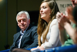 """© Licensed to London News Pictures. 28/05/2016. London, UK. Labour Shadow Chancellor JOHN MCDONNELL speaking at """"Another Europe is Possible"""" rally at UCL Institute of Education in London, campaigning for a remain vote at the upcoming EU referendum.  Speakers at the event include former Greek Finance Minister Yanis Varoufakis and Green Party MP Caroline Lucas. Photo credit: Tolga Akmen/LNP"""