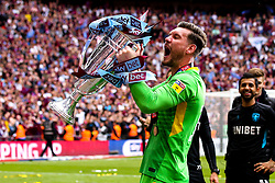 Jed Steer of Aston Villa celebrates winning promotion to the Premier League after winning the Sky Bet Championship Playoff Final - Mandatory by-line: Robbie Stephenson/JMP - 27/05/2019 - FOOTBALL - Wembley Stadium - London, England - Aston Villa v Derby County - Sky Bet Championship Play-off Final