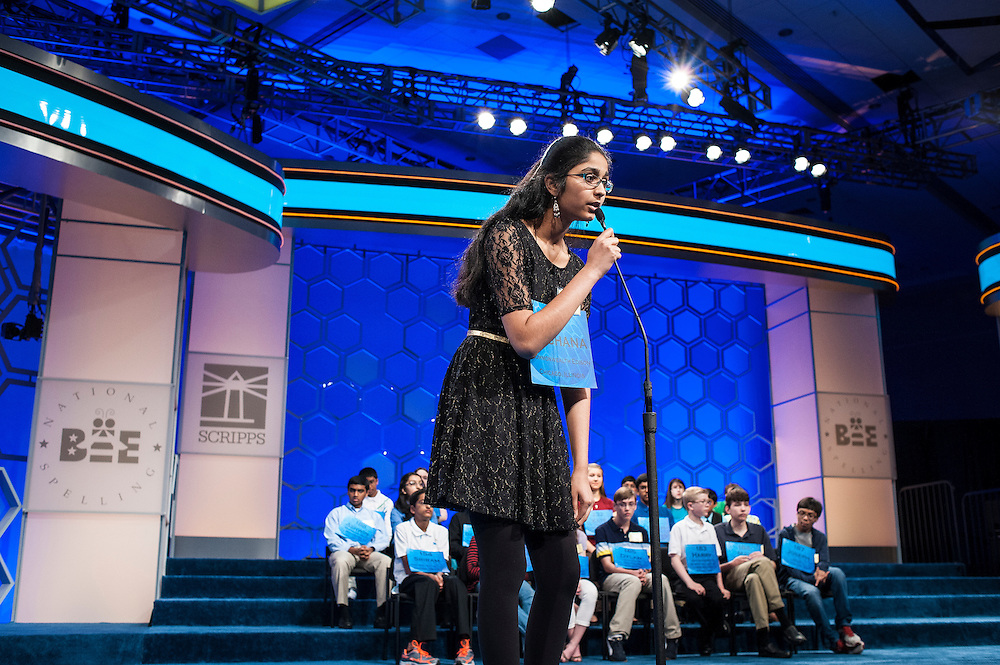 Meghana Kamineni, 13, of Lockport, Illinois, participates in the semifinals of the Scripps National Spelling Bee on May 29, 2014 at the Gaylord National Resort and Convention Center in National Harbor, Maryland.
