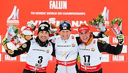 26.02.2015, Lugnet Ski Stadium, Falun, SWE, FIS Weltmeisterschaften Ski Nordisch, Nordische Kombination, Flower Ceremony, im Bild (v. l.) Francois Braud (FRA), Bernhard Gruber (AUT) und Johannes Rydzek (GER) // (f. l.) Francois Braud (FRA), Bernhard Gruber (AUT) und Johannes Rydzek (GER) during the Nordic Combined Flower Ceremony of the FIS Nordic Ski World Championships 2015 at the Lugnet Ski Stadium, Falun, Sweden on 2015/02/26. EXPA Pictures © 2015, PhotoCredit: EXPA/ SM
