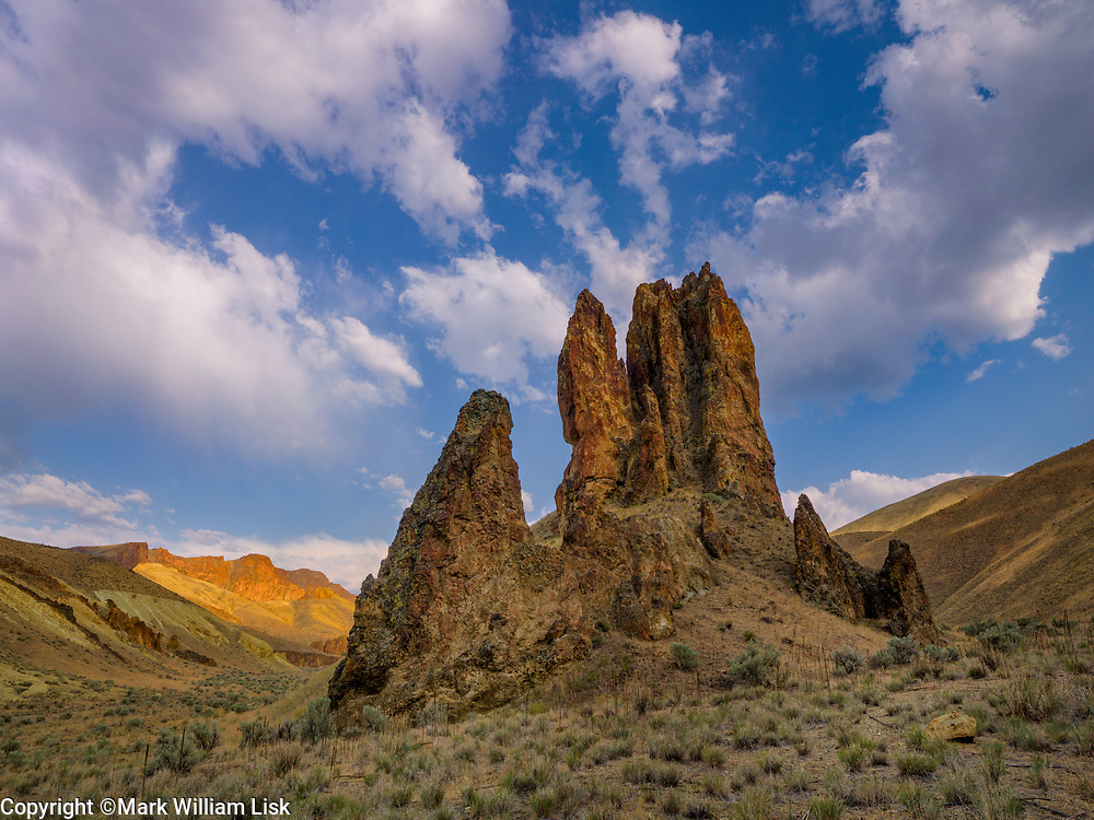 HooDoos made from welded ash rise from the Owyhee Desert in Leslie Gulch State Park, Oregon.