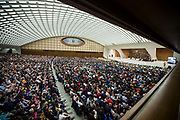 Pope Francis delivers his speech during his weekly general audience at the Paul VI hall on February 07, 2018 at the Vatican.