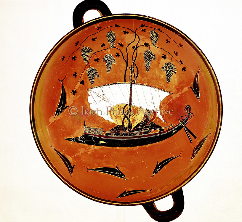 Dionysius, Greek god of wine) in sailing boat surrounded by dolphins Greek dish 530 BC