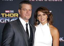 Matt Damon and Luciana Barroso at the World premiere of 'Thor: Ragnarok' held at the El Capitan Theatre in Hollywood, USA on October 10, 2017.