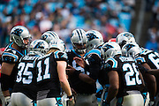 November 13, 2016: Carolina Panthers vs Kansas City Chiefs. Cam Newton leads the Panthers offensive huddle