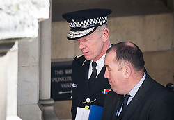 © Licensed to London News Pictures. 23/02/2016. London, UK. Commissioner of the Metropolitan Police SIR BERNARD HOGAN-HOWE arrives at Houses of Parliament in Westminster to give evidence to MPs on the Home Affairs Committee. Photo credit: Ben Cawthra/LNP