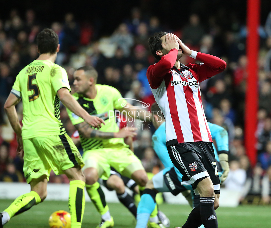 Brentford midfielder/ forward (Ramallo) Jota  missing a golden chance in the last few minutes of the game during the Sky Bet Championship match between Brentford and Huddersfield Town at Griffin Park, London, England on 19 December 2015. Photo by Matthew Redman.
