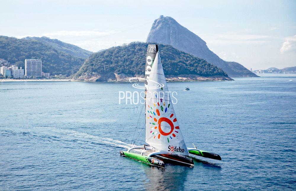 The Ultime Class 100' VPLP designed trimaran Sodebo, french skipper Thomas Coville and the Sailing Team in Rio de Janeiro, Brazil, on July 31, 2015 - Photo Christophe Launay / ProSportsImages / DPPI